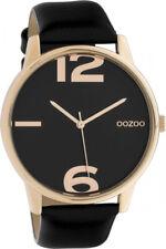 Oozoo XL Damenuhr C10374 schwarz/rose Lederarmband 45 mm