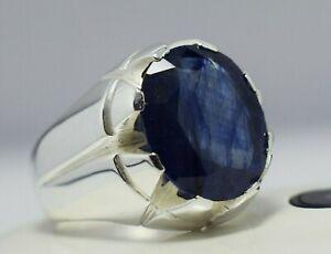 Sapphire Ring Mens Blue Sapphire Sterling Silver Real Gemstone Handmade Rings