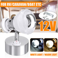 12V Double Head LED Reading Spot Light Bedside Wall Lamp Caravan Motorhome Boat