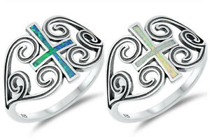 Sterling Silver 925 PRETTY CROSS LAB OPAL DESIGN RINGS SIZES 5-10**