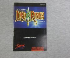 Super Nintendo SNES Instruction Booklet Manual Only Lord of the Rings Volume 1
