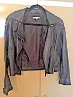 Glamorous BLACK Faux Leather BIKER Jacket With Studs, BUCKLE TOP.SIZE10