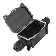 IP65 Waterproof Outdoor 2 Way PG9 Gland Electrical Junction Box Black FK