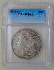 1921 D Morgan Silver Dollar $1, ICG MS63, PL Rev, BOOK VALUE: $75, GREAT TONING!