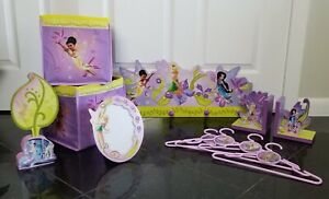 Disney Fairies Room Set - Coat Rack, Book Ends, Bins, Hangers, Frame, Mirror