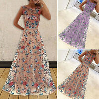 2017 Women Formal Embroidered Chiffon Long Dress Prom Evening Gown Bridesmaid