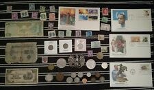 Junk Drawer Lot: Old US Coins 1881+, Silver Dollar, Rare Currency STAMPS vintage