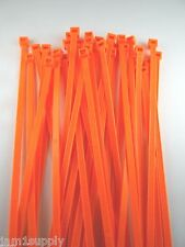 """CABLE TIES WIRE TIES FLUORESCENT ORANGE NYLON 7""""  LOT OF 100 NEW MADE IN USA"""