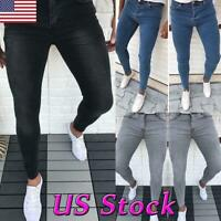 Fashion Mens Slim Fit Jeans Stretch Denim Pants Skinny Casual Biker Trousers New