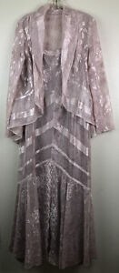 VTG Damianou Pinkish Metallic Lace Crochet Gown & Top Maxi Long Lined Size L USA