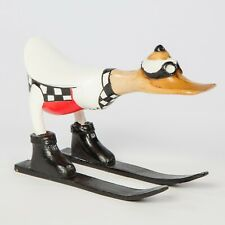 More details for handmade bamboo root skiing duck hand carved fair trade wooden duck - du-602-wh