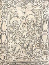Jésus Marie Sainte Anne Joseph Joachim gravure sur bois XVIe anonyme Allemagne