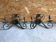 Lot 2 lampes appliques coeur en fer forgé Art déco belle patine verte old lamps