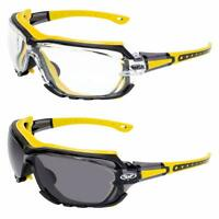 Octane Motorcycle Riding Safety Glasses Yellow Gasket 1 Clear and 1 Smoke Lens