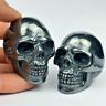"2"" Carved Natural Quartz Crystal Skull Rare Black iron ore Skull Healing 1pc"
