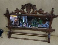ANTIQUE VINTAGE ♡ ADIRONDACK BLACK FOREST CARVED LEAF MIRROR TOWEL HOLDER UNIQUE