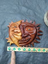Sun and Moon Hand Carved Wood wall decor