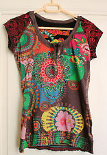 DESIGUAL Tunique blouse marron vert T.38 haut t-shirt chemisier