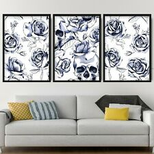 Set of 3 Navy Floral Abstract Rose Flower Skulls Wall Art Print Picture Poster