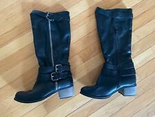 Black Leather Zip Up Knee High Boots Size 9
