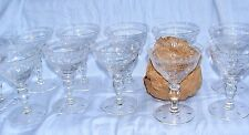 Set of 10 Hawkes Crystal Cut Glass Champagne Sherbet Wine Goblet Glasses Signed