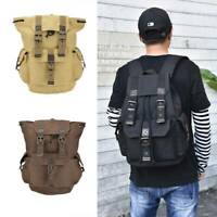 Unisex Vintage Canvas Leather Backpack Rucksack Satchel Laptop School Bag