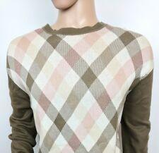 Aquascutum London Mens Jumper Argyle Brown Pink Crew Sweater XL Chest 48 RRP£135