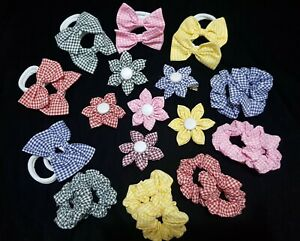 Gingham School Fabric Flowers, Small Scrunchies, Bows Bobbles Hair Accessories