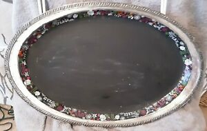 Vintage Silver Plate melford Tray Oval Chalkboard Writing Display dec edge