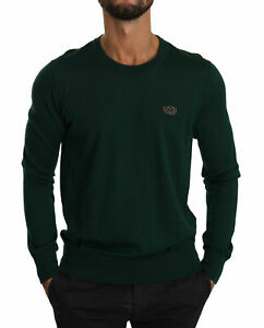 DOLCE & GABBANA Sweater Cashmere Green Crown Logo Pullover IT48/US38 /M
