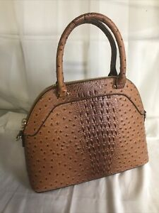 Brown Faux Leather Textured Satchel Handbag with Crossbody Strap NEW