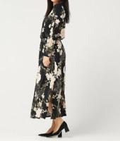 G.I.L.I. Petite Jetsetter Long-Sleeve Knit Maxi Dress - Black Floral - Petite XL