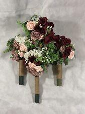 Cascading Rose BrideMaids Bouquet Waterfall Wedding Flowers Sold As Set
