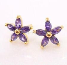 Butterfly Fastening Stud Yellow Gold Oval Costume Earrings