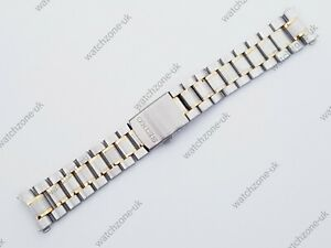 NEW 20MM 2-TONE STEEL / GOLD PLATED GENTS WATCH STRAP FOR SEIKO (SE-25)