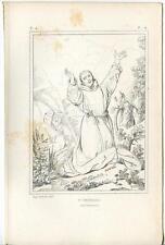 ANTIQUE CATHOLIC PATRON SAINT IRISH FRANCIS OF ASSISI WOODS TREES OLD ART PRINT