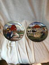 Tug O War & Piglet Roundup Plates Little Farmhands By Donald Zolan Danbury Mint