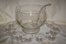 Riekes Crisa Handblown Crystal Punch Bowl 12 Cups Crafted In Mexico W/Box