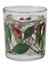 Victorian Trading Co. Rosebud Votive Candle Glass & Pressed Roses Holder