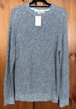 BNWT H&M Long Jumper Size M 12 14 Blue White Cotton Chunky Knit Warm L.O.G.G