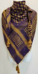 Purple Rust Shemagh Head Scarf Neck Wrap Tactical Arab Cotton Face Cover Gold