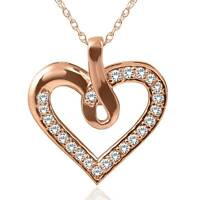 14K Rose Gold 1/4ct Diamond Heart Pendant Necklace New