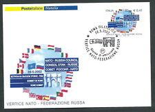 2002 ITALIA CARTOLINA POSTALE FDC VERTICE NATO RUSSIA ANNULLO ROMA FILATELICO