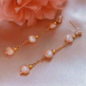 Natural Pearl Roses Earrings Dangle 18KGP Chain Ms gift Lucky Aquaculture