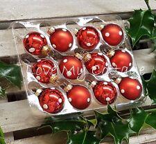 GISELA GRAHAM Christmas Decorations BOX of 12 RED POLKA DOT Mini Hanging Baubles