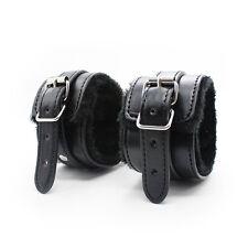 High Quality Black Real Leather Fur Wrist Cuffs