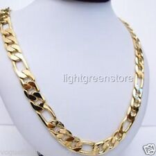 """Massive 24K Yellow Gold Filled Mens Figaro Curb Chain GF Necklace Jewelry 23.6"""""""