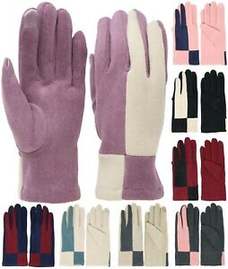 Double Colored Soft Faux Suede Winter Elegant Women's Gloves