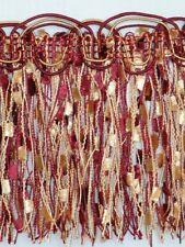 """4 1/4"""" Elegant Confetti Fringe Trim Gold Burgundy Wholesale 50 Yards"""