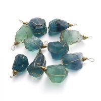 Natural Blue Fluorite Quartz Crystal  Stone Healing Gemstone Pendant Necklace